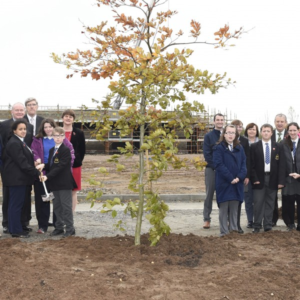 Ministers and students from Arvalee School and Resource Centre plant tree at new school site (Picture: Michael Cooper)
