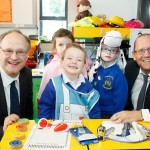 Education Minister Peter Weir and Principle Jonny Gray with Arvalee pupils