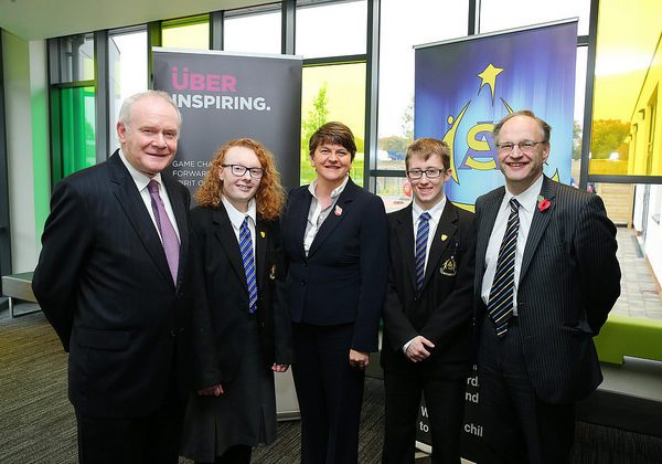 First Minister Arlene Foster, deputy First Minister Martin McGuinness & Education Minister Peter Weir pictured with Head Boy Ethan Treacy & Head Girl Derbhla Brogan at opening of Arvalee School & Resource Centre in Strule Shared Education Campus, Omagh.