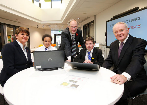 First Minister Arlene Foster, deputy First Minister Martin McGuinness & Education Minister Peter Weir pictured with pupils Chantelle Salaja & Calvin Hamilton at the opening of Arvalee School & Resource Centre in Strule Shared Education Campus, Omagh.