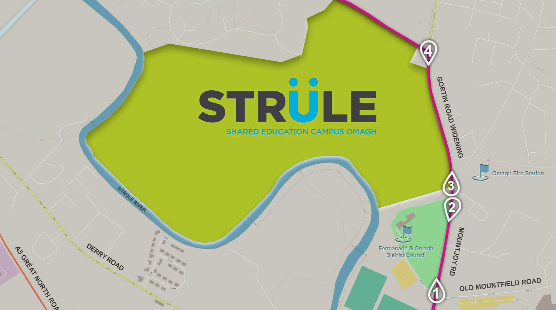 Strule Areas Roads Map